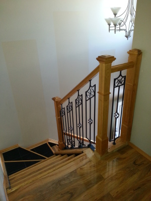 Laminate Floor Installed, Railing, Tile & Laminate of Stairs