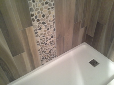 Custom Tile Shower with Rock