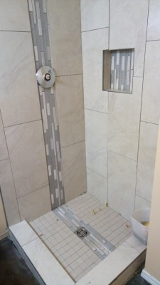 Custom Tile Shower With Waterfall Mosaic