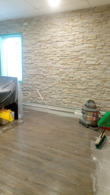 Stone Feature Wall for Office, Flooring installed